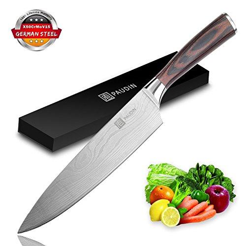 PAUDIN Kochmesser Küchenmesser Allzweckmesser 20cm Profi Chefmesser aus rostfreiem Stahl, Extra Scharfe Messerklinge mit ergonomischer Griff