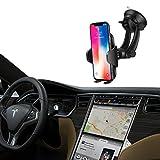 Soporte Movíl Coche Universal para Parabrisas y Salpicadero,Car Mount con Ventosa de Gel Fuerte y Brazo Ajustable Compatible con iPhone X ASUS 3 max y Otros Movíles Inteligentes Ancho de 4.5cm-10.8cm.