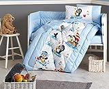 DecoMood Pinguine – 100% Baumwolle Tier-Pinguine Themen-Set für Babybett Jungen und Mädchen, 6-teiliges Baby Bettdecken-Set mit Nestchen, Bettlaken, Kissenbezügen, Blau, Unisex