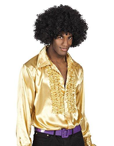 70er Jahre Rüschen-Hemd für Herren Siebziger Disco Schlagermove Bad Taste , Größe:XL;Farbe:Gold