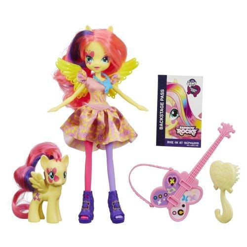 nbow Rocks - Equestria Girls - Fluttershy Puppe & Pony Set (My Little Pony-rock)
