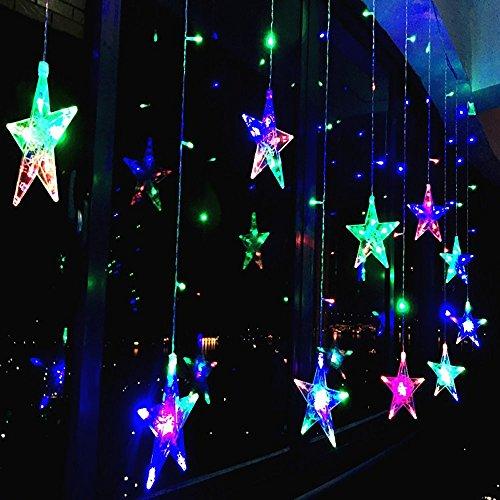 Vorhang-mini-leuchten (138 LED Vorhang Lichterkette,KINGCOO 2m 12 Sterne Batteriebetriebene Fenster Vorhang Fee Lichterketten Dekoleuchte für Festival Weihnachten/Hochzeit/Party/Garten Dekorationen (Bunt))