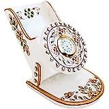 Handicrafts Paradise Rajasthani Work Marble Mobile Holder with Clock (9.5 cm x 10.9 cm x 10.2 cm)