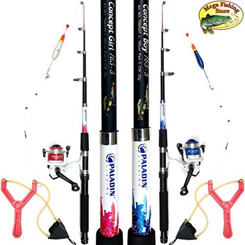 Mega Fishing Kinderangel Starter Set Tele Combo - Teleskop Rute Rolle Tasche Futterschleuder & Fertigmontage - Rot & Blau (Rot/Pink - Concept Girl)