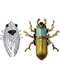 Tradico® Chic Cute 3D Colorful Peculiar Cicida Bug And Snail Insect Brooch Pins 2Pcs