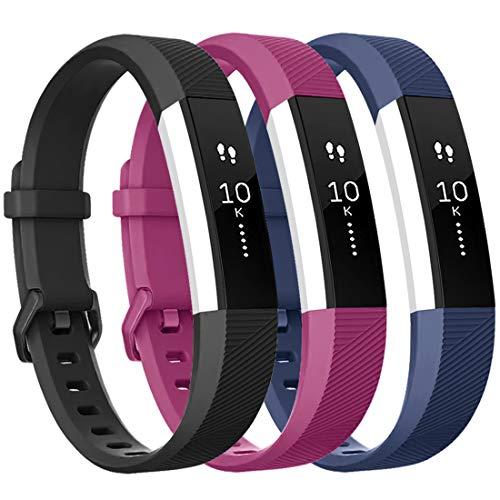 Tobfit Armband für Fitbit Alta HR Armband, Alta Armband Verstellbar Weich Ersatz Armbänder für Fitbit Alta HR und Fitbit Alta (Keine Uhr) (3-Pack Blau+Schwarz+Fuchsia, Kleine)