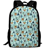 Fashion Southwest AnimalsTipi Teepee Cactus Raccoon Arrows Outdoor Shoulders Bag Fabric Backpack Multipurpose ypacks for Adult
