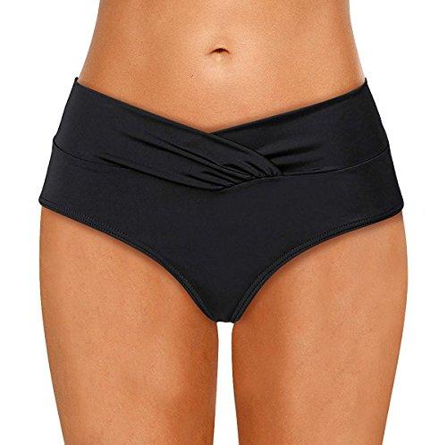 LA ORCHID Laorchid Damen Frauen Bikini Unterteil Hose Hipster-Shorts V Schnitt Schwarz XL