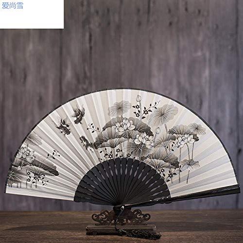 Spaß Kostüm Weiblichen - plzxy Faltfächer weiblichen Alten Fan chinesischen Stil klassischen kleinen Fan Frauen Faltfächer Seide Cheongsam Fan Sommer@Lotus Teich Fisch Spaß A7 Baumwollmaterial