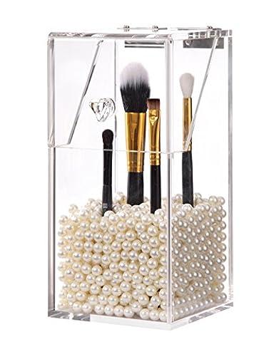PuTwo Makeup Brush Holder Dustproof Acrylic Storage Box Makeup Organizer, White Pearl, Small, 37.39 Ounce