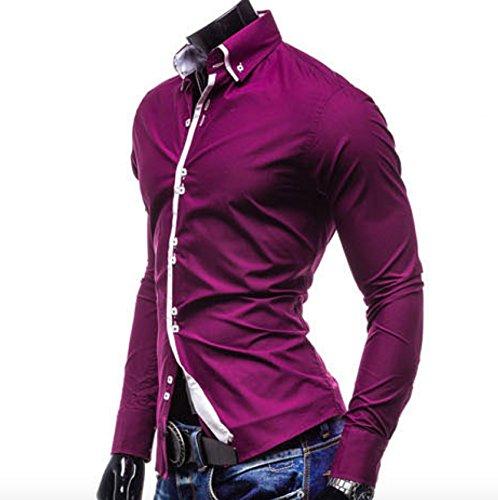 Homme Élégante Chemise de Loisir Manche Longue Carré Bouton Couleur Contrasté Pourpre