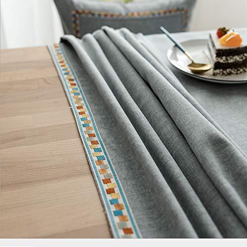 Zbinbin tovaglia in tinta unita impermeabile imitazione tavolino in lino tinta unita tovaglia da ricamo tavolo 140x140cm grigio