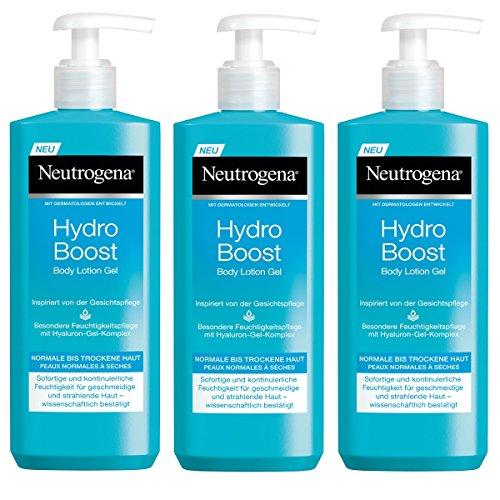 Neutrogena Hydro Boost Body Lotion Gel - Erfrischende und ultra-leichte Body Lotion mit Hyaluron - 3 x 400ml -