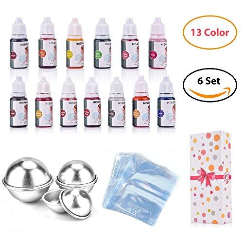 AUSHEN Soap Colouring 13 Colours Bath Bomb Mould Set Soap Colourants Soap Dyes for Soap Making Bath Bombs Gift Kit (Dyes & Molds)