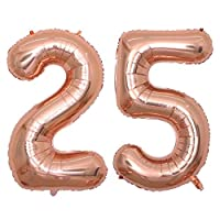 ‏‪BALONAR 40 inch Jumbo 25th Rose Gold Foil Balloons for Birthday Party Supplies,Anniversary Events Decorations and Graduation Decorations (ROSE25)‬‏