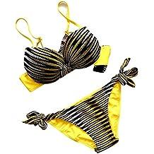Femmes Halterneck Bande Rembourré Push Up Triangle Bikini Maillot De Bain