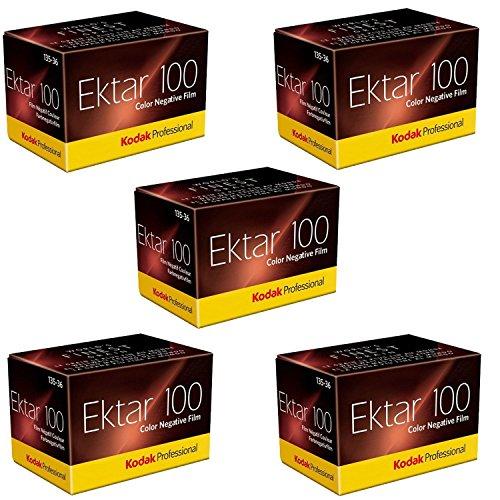 Kodak Ektar 100 Negativ-Film, 35 mm, 36 Aufnahmen. 5 Rollen (5 Stück), 1-Pack
