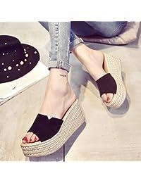 LvYuan Zapatillas del verano de las mujeres / manera ocasional de la comodidad / talón de cuña / parte inferior gruesa / plataforma impermeable / alto talón / friegue las sandalias / los zapatos de la playa , rose red , CN38
