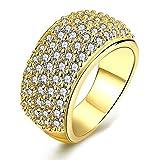 uloveido Mujer 5fila chapado en oro dorado Ancho de Micropave CZ Eternity banda anillo CR002