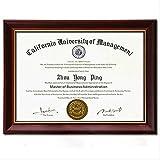 NovoGifts - Cadre en bois massif format A4 pour document, diplôme, certificat