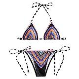 YTJH Damen Micro Print String Bikini Set Blumenmuster Mehrfarbig BH + Schleife Briefs Sommer sexy Schwimmen Bademode und Strandkleidung