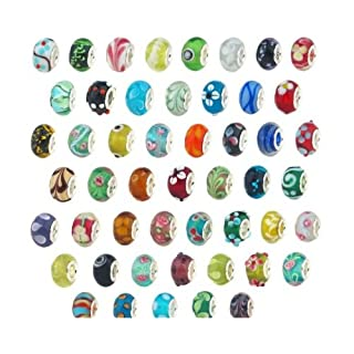 ANKKO 50Pcs Silber Glasperlen Muranoglas Murano Glasperlen Pandora Stil Charm Armbänder angepasst