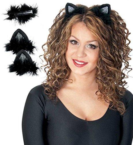 Katzenohren mit Clip Katzen Ohren Haarclip 2tlg.Set (Katzenohren Kostüm)