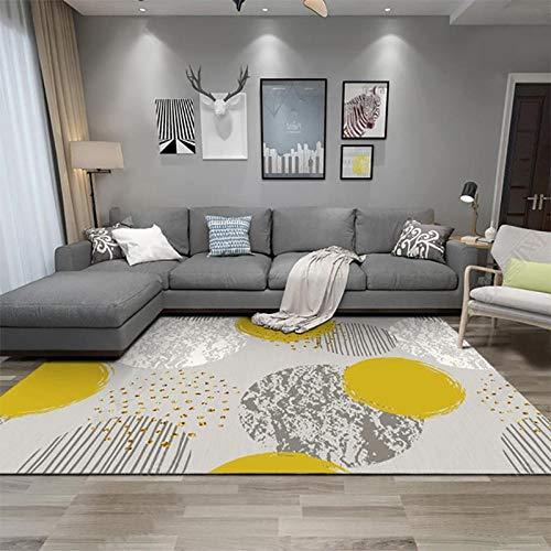 Pgron home design bambini tavolino camera da letto a pelo corto,tappeto minimalista geometrico moderno,divano letto in morbido velluto di cristallo tondo grigio giallo,200×300cm