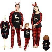 Hinzonek Weihnachten Familie Passende Kleidung Set Haustier Baby Kind Männer Frauen Rentier Plaid Weihnachten Pyjama Lässig Nachthemd Homewear (Baby / 12-18 Monate)