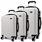 "Kono Luggage Suitcase Hard Shell 4 Wheel Spinner Holiday Travel Business Trip Trolley Case 20"" 24"" 28"" Set (6676 White 20""+24""+28"")"