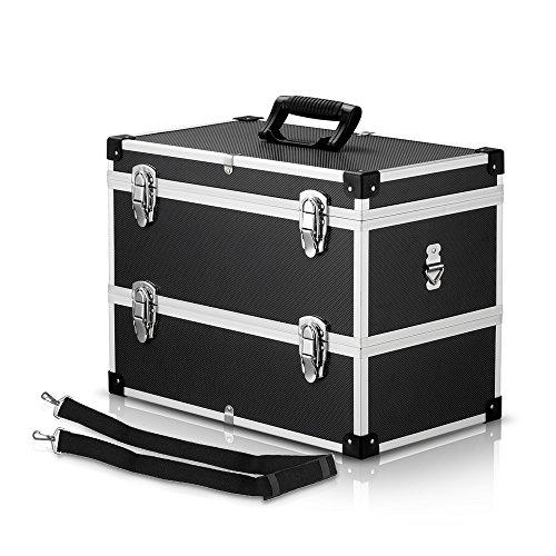 Ikayaa scatola portautensili portatile multifunzione a 2 strati caso portante duro con maniglia & cinghia grande imbottitura di contenitore di immagazzinaggio