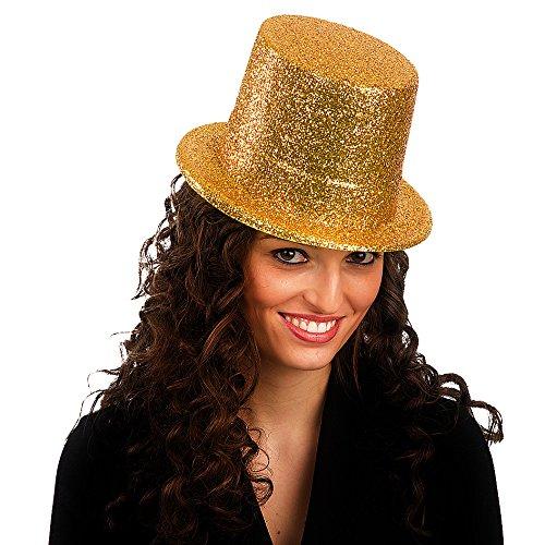 Accessorio Carnevale Cappello Tuba con Glitter Oro 05527
