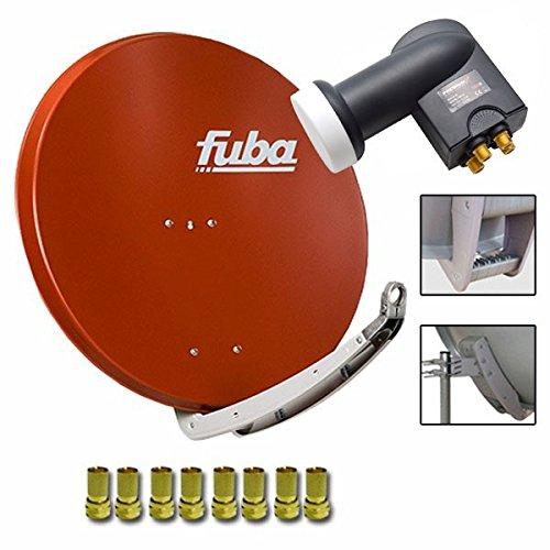 Fuba DAA 850 R Digital Sat Schüssel Rot 85x85cm Full HD 3D TV + LNB Quad 0,1 dB PremiumX PXQS-SE Quattro Switch zum Direktanschluss von 4 Teilnehmern Digital HDTV FullHD 3D tauglich + 8x F-Stecker 7mm vergoldet