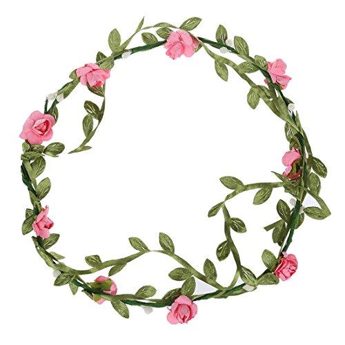 Bandeau-SODIAL(R) 2 pcs Dame Boho Floral Fleur Festival Mariage Guirlande Front Bandeau Bande de cheveux - Peach rose