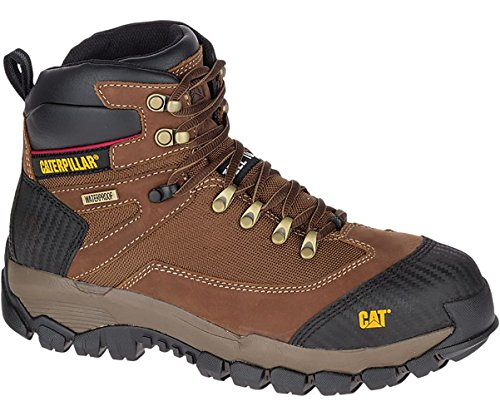 Mens CAT Leather Safety Work Boots Steel Toe Water Resistant, Non Slip & Lightweight Hiking Style