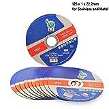 Trennscheibe Metall 125mm x 1mm x 22mm - 10 Stück, für Winkelschleifer, ULTRA DÜNN, DAUERHAFT, RPM 12200, 80M/S (10)