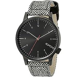 Komono Winston Herringbone Men's Quartz Watch with Black Dial Analogue Display and Multicolour PU Strap KOM-W2100