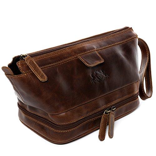 SID & VAIN® trousse de toilette NOTTINGHAM - grand Necessaire style Vintage - poche de toilette homme châtain clair en cuir véritable