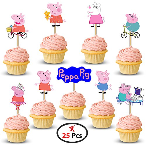 Party Propz Peppa Pig Cup Cake Topper (Set of 25) for Peppa Pig Birthday Decoration