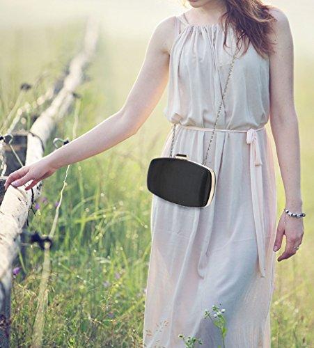 LeahWard Kleine Clutch-Tasche für Frauen Hochzeit Geldbörse Qualität Abendtasche Party Braut 092 (DUNKELBLAU KUPPLUNG) SCHWARZ KUPPLUNG