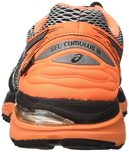 Asics Herren Gel-Cumulus 18 G-Tx Laufschuhe Schwarz (Black/silver/hot Orange)