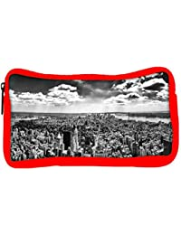 Snoogg Eco Friendly Canvas Black And White New York City Designer Student Pen Pencil Case Coin Purse Pouch Cosmetic...