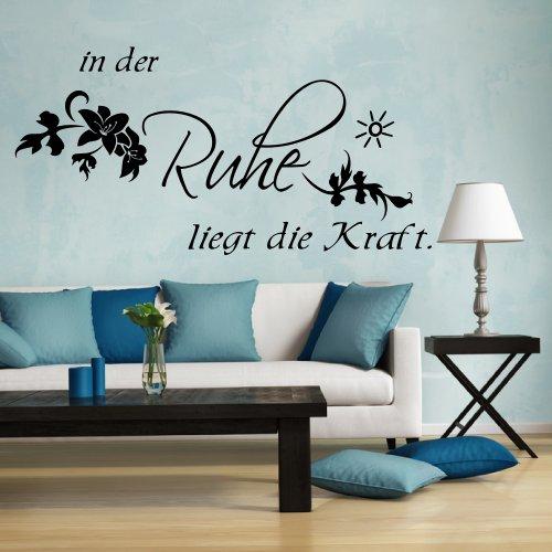Wandtattoo 68129-58×29 cm, ~ Spruch In der Ruhe liegt die Kraft ~ Wandaufkleber Aufkleber für die Wand, Tapetensticker aus Markenfolie, 32 Farben wählbar