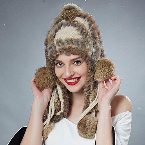 Mode pour dames Bonnet de lapin en laine tricotée, couleur unie Bonnet à capuche mignon Bonnet d'hiver chaud ( couleur : 3 ) 1