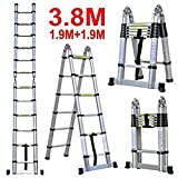 Smarty Double Telescopic Mag Hinge and Dual Ultra Stabilizer Portable Aluminium Ladder, 3.8m /12.5ft