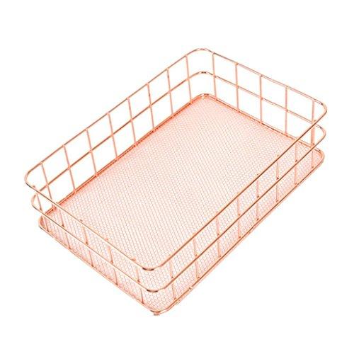 artistic9(TM) Metall Aufbewahrungskorb Mesh Box Vintage Storage Schreibtisch Organizer Metall Draht Korb für Küche Büro Badezimmer Pantry, metall, gold, Large:24.5x16x6.5 cm (Pantry-küche-korb)