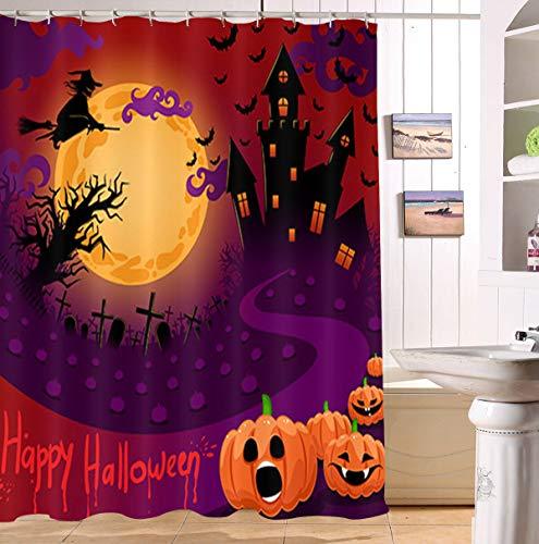 HTSJYJYT Halloween Nacht Mond Schloss Baum Hexe Besen Kreuz Grabstein Kürbis Licht Fledermaus Duschvorhang Bad Vorhang dekorative wasserdichtes Gewebe -