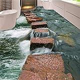 Zhcm Wallpaper benutzerdefinierte geprägte Tapeten Tapeten tragen Dicker PVC Wandaufkleber klar Fluss Schiefer Pfad Toilette Badezimmer Schlafzimmer 3D Boden, 300 * 210cm