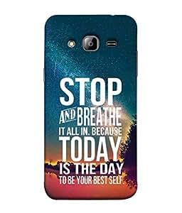Fuson Designer Back Case Cover for Samsung Galaxy J3 (6) 2016 :: Samsung Galaxy J3 2016 Duos :: Samsung Galaxy J3 2016 J320F J320A J320P J3109 J320M J320Y (Wordings Sayings Inspirational Stop Breathe)