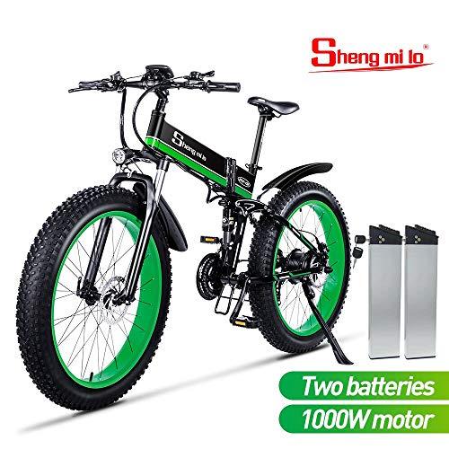 26 pulgadas neumático gordo Bicicleta eléctrica 1000W 48V Nieve E-bici Shimano 21 Velocidades Beach Cruiser Hombre Mujeres Montaña e-Bike Pedal...